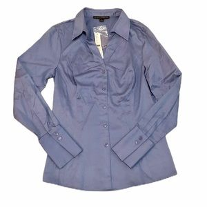 Antonio Melani Button Up Long Sleeve Blouse Blue S